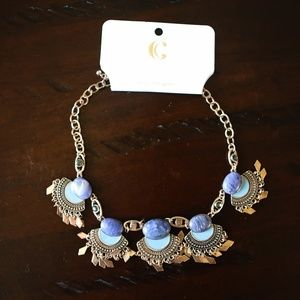 Charming Charlie blue and gold chunky necklace